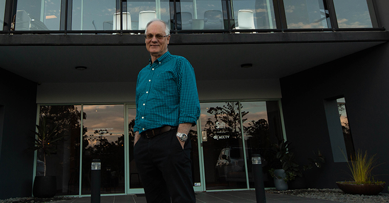 Founder of ACCTV Mike Jeffs Standing Outside their current office and studios