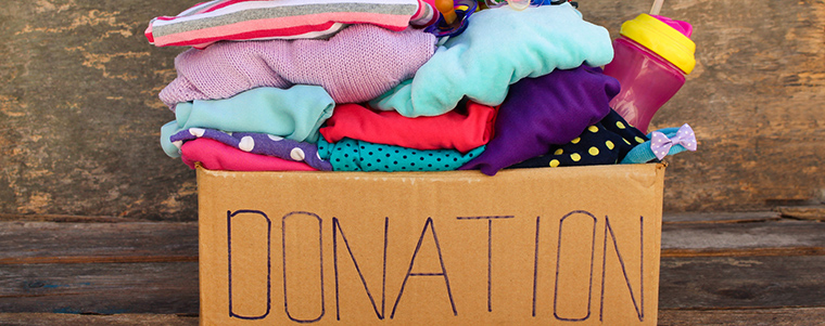 Donation box filled with clothes