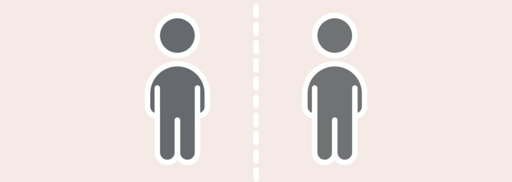 two people divided by a dotted line