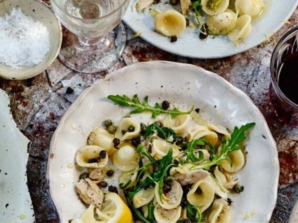 photo of pasta with tuna capers and rocket