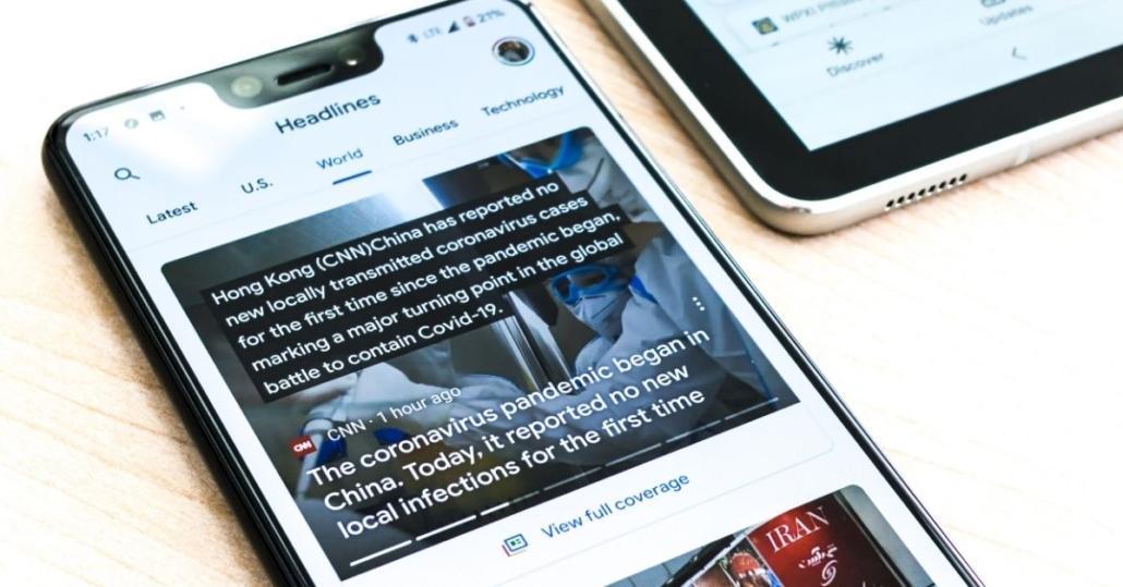 news on a phone screen