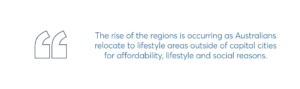 the rise of the regions is occurring as australians relocate to lifestyle areas outside of capital cities for affordability, lifestyle and social reasons